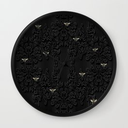 Black Bees and Lace Wall Clock