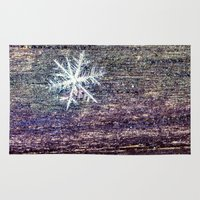 snowflake Area & Throw Rugs featuring snowflake by Bonnie Jakobsen-Martin