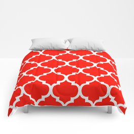 MOROCCAN RED AND WHITE PATTERN Comforters