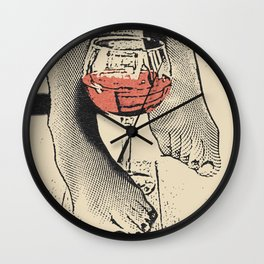 Perfect saturday night - kinky feets fetish artwork, woman in bodystocking with wine glass Wall Clock