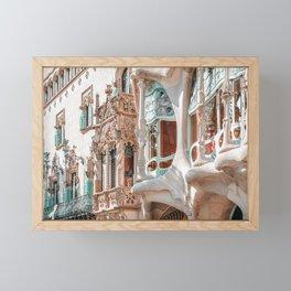 Casa Batllo, Antoni Gaudi Architecture, Barcelona City Print, Famous Landmark, Travel Print, House Facade, Modernist Building, Spanish Organic Motifs Framed Mini Art Print