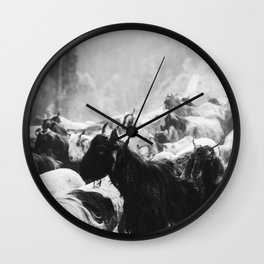 Grazing cattle, Kashmir, India - 3 Wall Clock