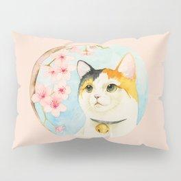"""""""Hanami"""" - Calico Cat and Cherry Blossom Pillow Sham"""