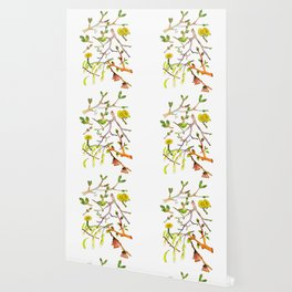 Spring pattern - branches, buds and flowers Wallpaper