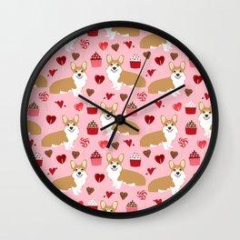 Corgi cupcakes valentines day cute love hearts dog breed corgi crew welsh corgis gifts Wall Clock