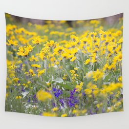 Meadow Gold - Wildflowers in a Mountain Meadow Wall Tapestry