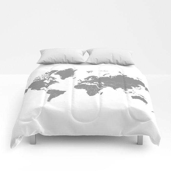 Minimalist world map gray on white background comforters by minimalist world map gray on white background comforters gumiabroncs Image collections