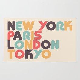 Retro New York Paris London Tokyo Typography Rug