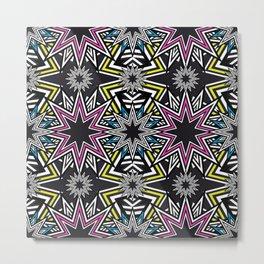 Stars Mosaic Fluo Metal Print