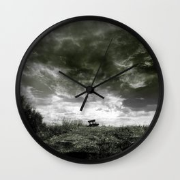 On The Dyke b&w Wall Clock