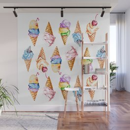 Ice cream watercolor Wall Mural