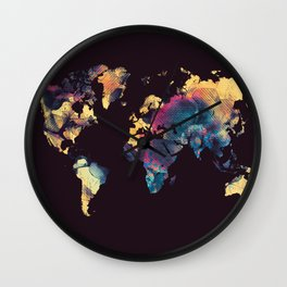 world map 79 yellow black Wall Clock
