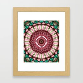 Mandala in red, light and dark green Framed Art Print