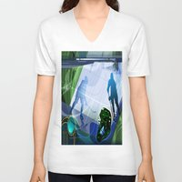 hockey V-neck T-shirts featuring Hockey by Robin Curtiss