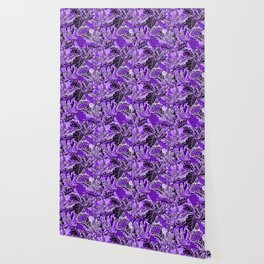 Ultraviolet Flower Field, Purple Lilac Leaves &  Intricate Lavender Floral Blooms Pattern Wallpaper