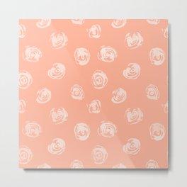 Sweet Life Rosebud Peach Coral Pink Metal Print