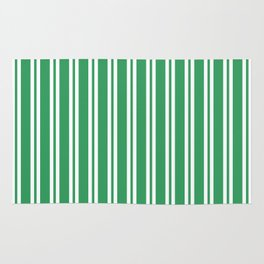Kelly Green and White Wide Small Wide Stripes Rug