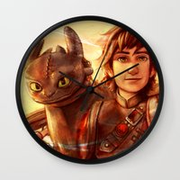 hiccup Wall Clocks featuring The Greatest Dragon Master by Five-Oclock