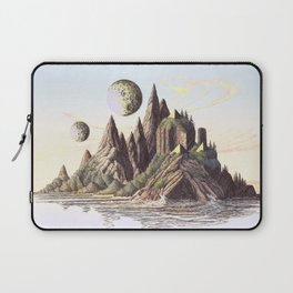 THREE PYRAMIDS, TWO MOONS, ONE ISLAND, VINTAGE PEN AND PENCIL DRAWING Laptop Sleeve