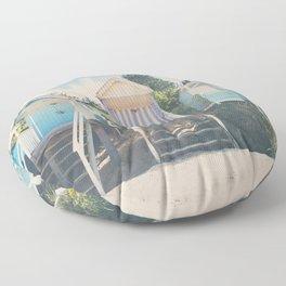 beach huts photograph Floor Pillow