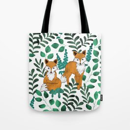 Red Foxes (White) Tote Bag