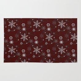 Snowflakes (white & dark red) Rug