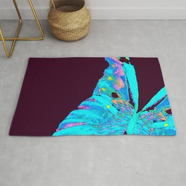 Turquoise Butterfly On A Dark Background #decor #society6 #buyart Rug
