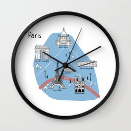 Mapping Paris - Original Wall Clock