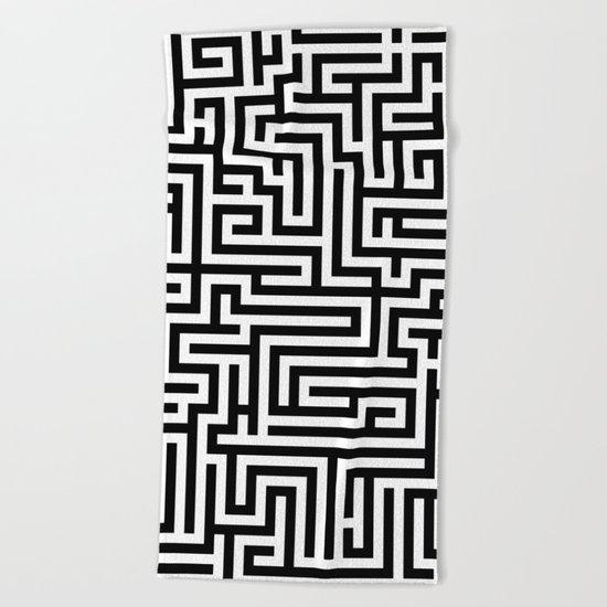 Black and white Labyrinth Beach Towel