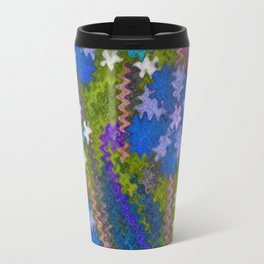 Starry Floral Felted Wool, Moss Green and Violet Travel Mug