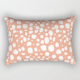Painterly Dots in Peach and White Rectangular Pillow