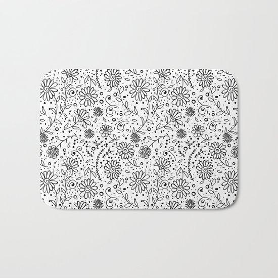 Doodle floral pattern Bath Mat