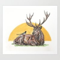 stag Art Prints featuring Stag by Meredith Mackworth-Praed
