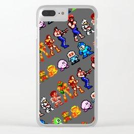 8-bit heroes (NES)   grey   retrogaming nostalgia Clear iPhone Case