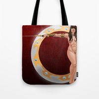 xena Tote Bags featuring Warrior Woman by Xena