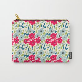 Red and Blue Floral Pattern Carry-All Pouch