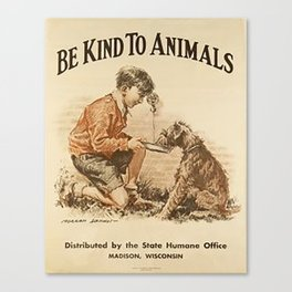 Be Kind To Animals 3 Canvas Print