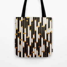 Marble skyscrapers - black, white and gold Tote Bag