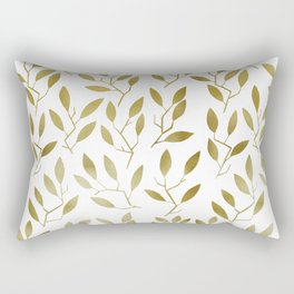 Leafy Twigs - Gold Rectangular Pillow