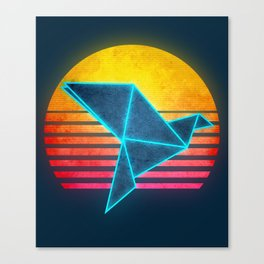 Neon Retro Synthwave Origami Canvas Print