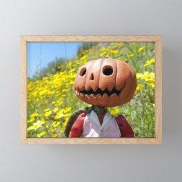 Jack Pumpkinhead in yellow field Framed Mini Art Print