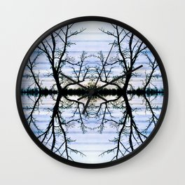 188 - Hydro wires and trees abstract design Wall Clock