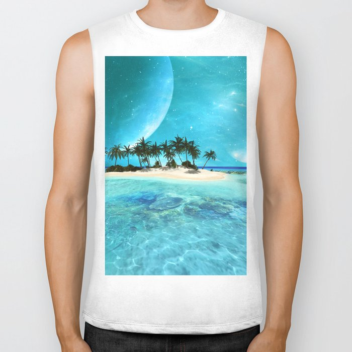 Wonderful tropical island Biker Tank