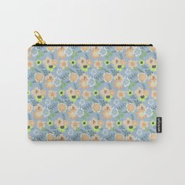 Modern coral pastel blue lime green floral illustration Carry-All Pouch