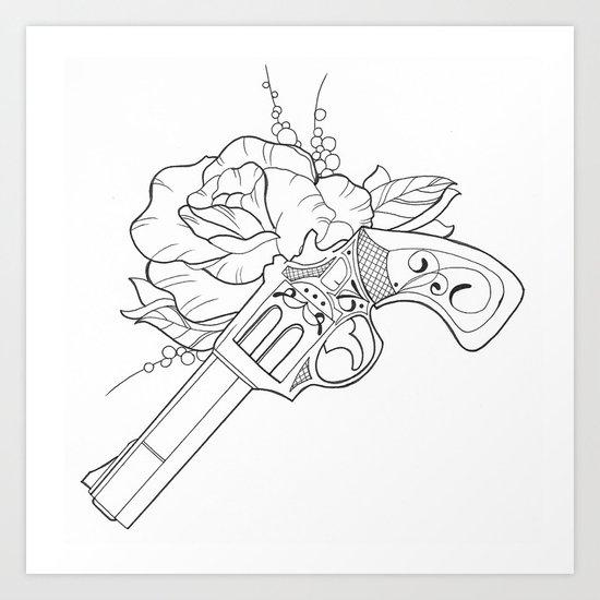 Gun N Rose Art Print By Jesspanicamongus