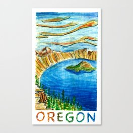 Crater Lake National Park - Oregon Travel Poster Canvas Print