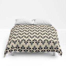 VANILLA - cream grey black art deco pattern design Comforters