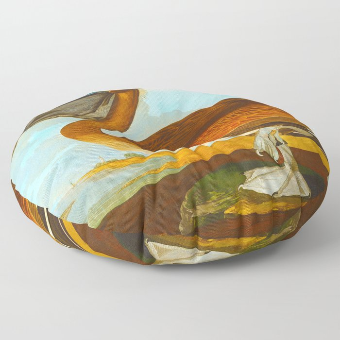 Brown Pelican Illustration Floor Pillow