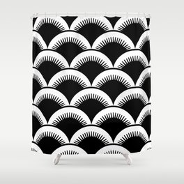 Japanese Fish Scales Black and White Shower Curtain