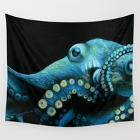 octopus Wall Tapestries featuring Octopus by Sam Luotonen